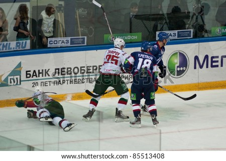 NOVOSIBIRSK - SEPTEMBER 26:  Ice hockey, the game between Siberia and AK Bars Jarkko Immonen forward (Ak Bars), which fell after the fight for the puck on September 26, 2011, Novosibirsk Russia