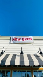 Now Open Banner Sign on Restaurant Store Shop Outside