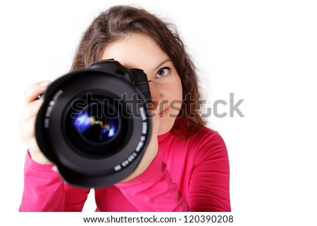 Now she will be shot with the camera on an isolated white background