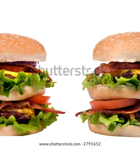 Now those are hamburgers.... two patties, bacon, cheese and lots of greens.  Can you eat them both?