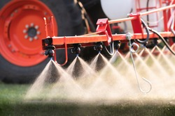 Nozzle of the tractor sprinklers sprayed.