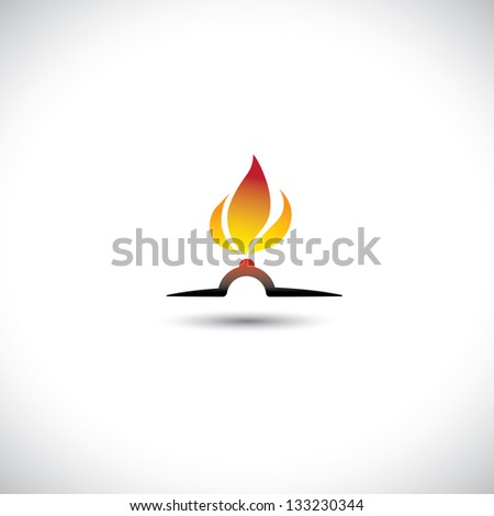 Nozzle with gas burning bright as hot orange yellow flame icon
