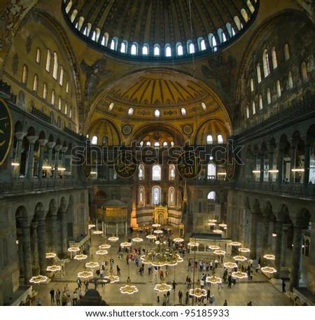 nside the Hagia Sophia, Istanbul, Turkey.