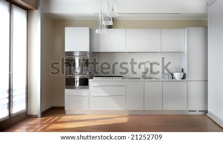 nterior of big white kitchen in apartment