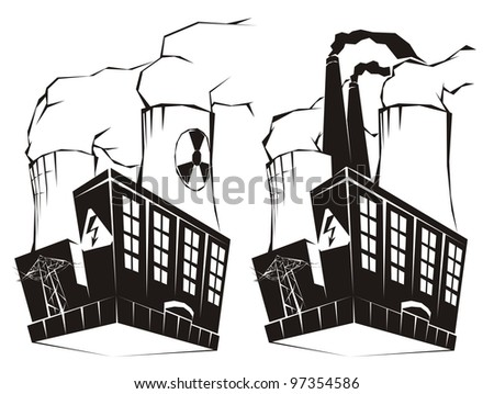 Nuclear and coal fired power plant black & white raster illustration set