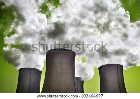 Nuclear danger of radiation, power station. - stock photo