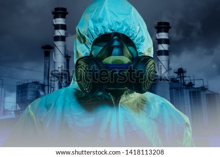 nuclear disaster, name with mask and protection against radiation from the explosion of a nuclear power plant