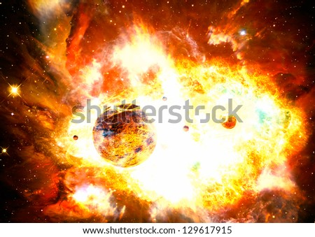 nuclear explosion in the space and nebula  art galaxy creative background
