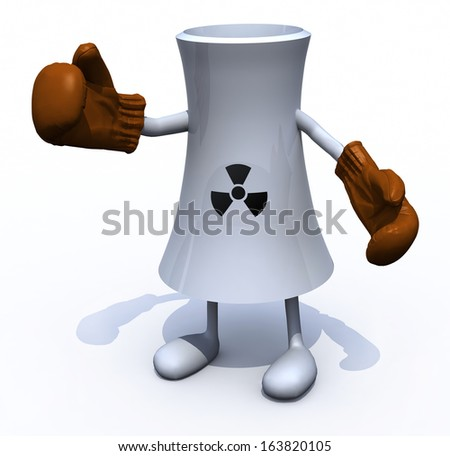 nuclear factory with arms, legs and boxing gloves, 3d illustration
