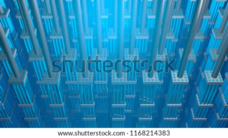 Nuclear fuel rods. 3d Render. Top view