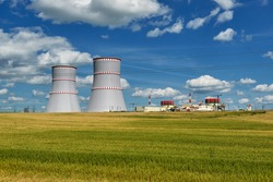 Nuclear power plant, cooling towers and power lines in Ostrovets, Grodno region, Belarus.