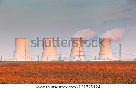 Nuclear power plant with clouds