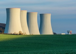 Nuclear Power Plant with the Blue Sky in The Background
