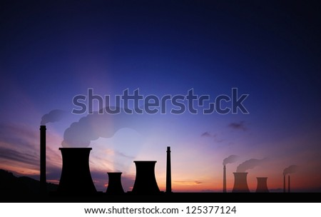 Nuclear power plants sunset background industry industrial for design