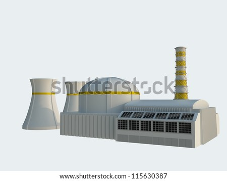 Nuclear power station Isolated on white background