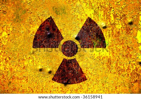 nuclear radiation sign background in toxic yellow