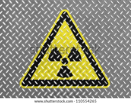 Nuclear radiation sign drawn on metal floor