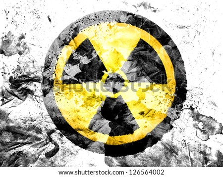 Nuclear radiation symbol   painted dirty and grungy paper