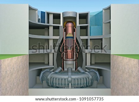 nuclear reactor in section cutaway. 3d rendering