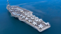 Nuclear ship, Military navy ship carrier full loading fighter jet aircraft for prepare troops USA VS Iran.