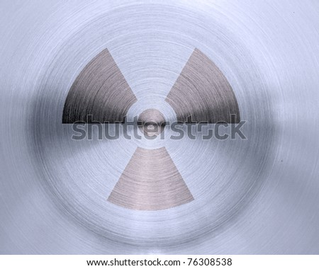 nuclear sign on metal background