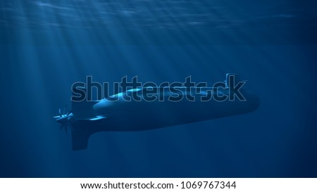 Nuclear submarine under the wave with sun rays. Underwater blue light. 3D rendering