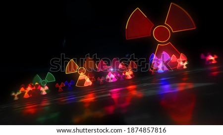Nuclear warning symbol, radioactive danger neon sign and atomic energy icon concept. Futuristic abstract 3d rendering illustration. Сток-фото ©