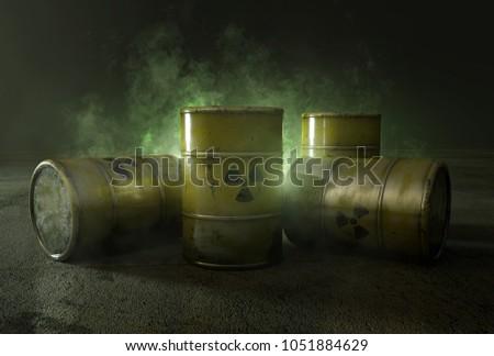 Nuclear waste in barrels (3D Rendering)
