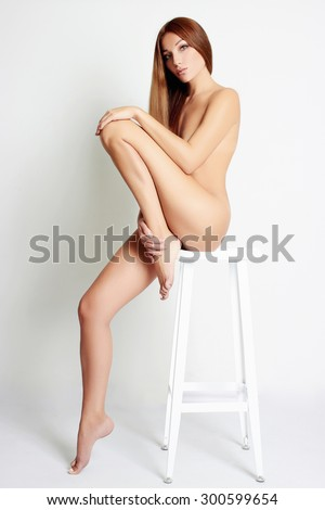 Nude girl sitting on bar stool consider, that