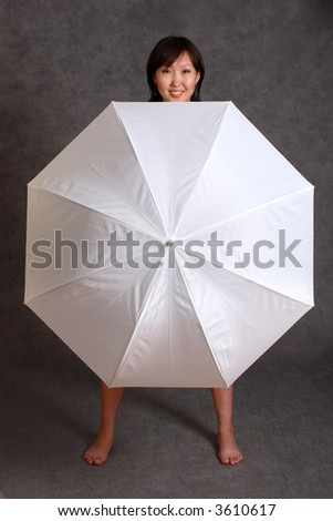 nude girl covering by umbrella