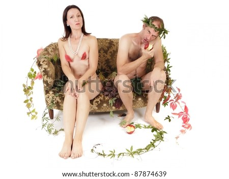 nude kitsch couple relationship conflict isolated on white - stock photo