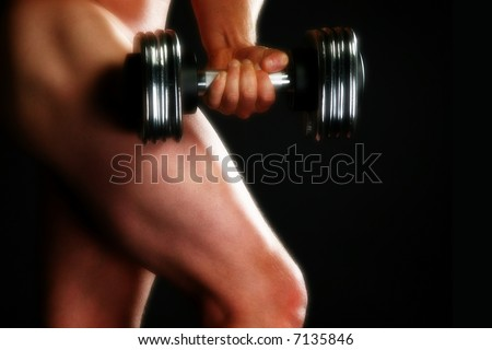 stock photo nude male model with dumbbell over black 7135846 Jane Rimmer Click to play video
