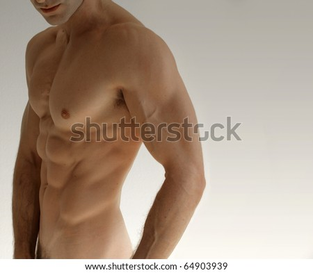 stock photo : Nude sexy male model against neutral background