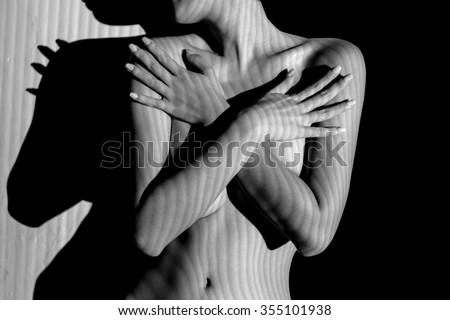 nude woman black and white line zebra stripe