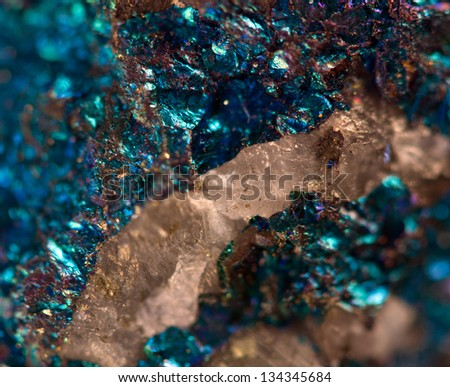 Nugget, gold, bronze, copper, iron. Macro. Extreme closeup