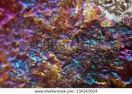 Nugget, gold, bronze, copper, iron. Macro. Extreme closeup