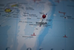 Nukualofa, capital city of Tonga pinned on geographical map