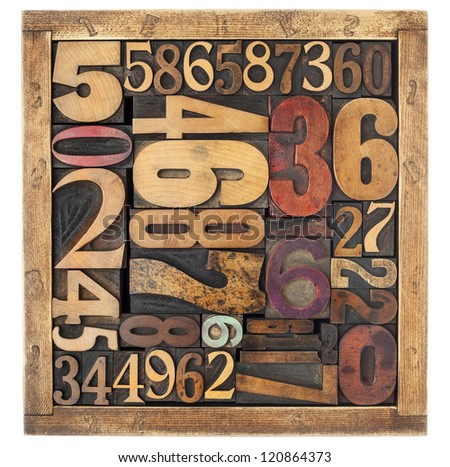 number abstract - vintage letterpress wood type blocks in a box, different size and style