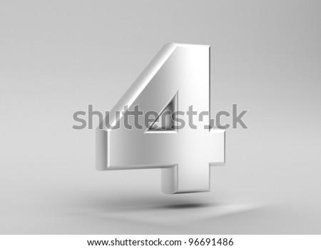 number 4 aluminum iron on grey background
