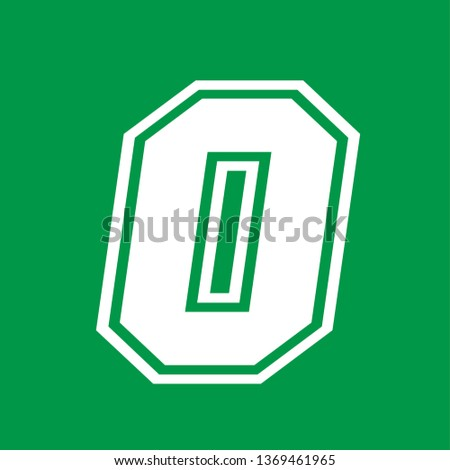 Number 0 - American high school sportive traditional style, over green background. Flat outline design. Graphic resource for logos, mark development, folders, cards, web and every typographic needs