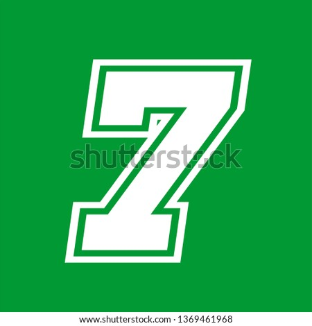 Number 7 - American high school sportive traditional style, over green background. Flat outline design. Graphic resource for logos, mark development, folders, cards, web and every typographic needs