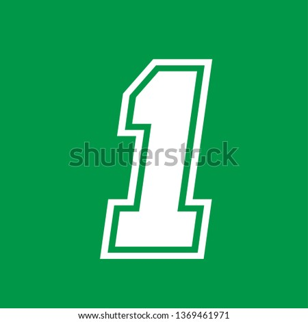 Number 1 - American high school sportive traditional style, over green background. Flat outline design. Graphic resource for logos, mark development, folders, cards, web and every typographic needs