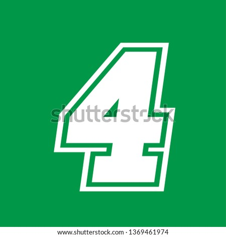 Number 4 - American high school sportive traditional style, over green background. Flat outline design. Graphic resource for logos, mark development, folders, cards, web and every typographic needs