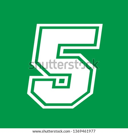 Number 5 - American high school sportive traditional style, over green background. Flat outline design. Graphic resource for logos, mark development, folders, cards, web and every typographic needs