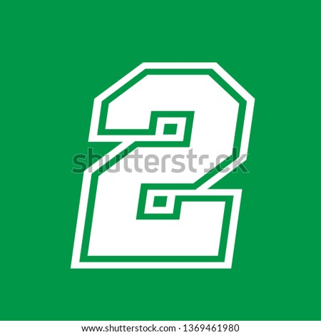 Number 2 - American high school sportive traditional style, over green background. Flat outline design. Graphic resource for logos, mark development, folders, cards, web and every typographic needs