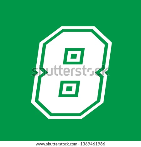 Number 8 - American high school sportive traditional style, over green background. Flat outline design. Graphic resource for logos, mark development, folders, cards, web and every typographic needs