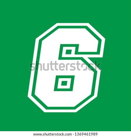 Number 6 - American high school sportive traditional style, over green background. Flat outline design. Graphic resource for logos, mark development, folders, cards, web and every typographic needs