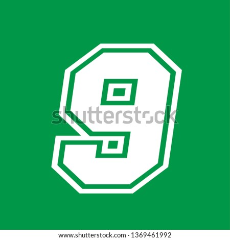 Number 9 - American high school sportive traditional style, over green background. Flat outline design. Graphic resource for logos, mark development, folders, cards, web and every typographic needs
