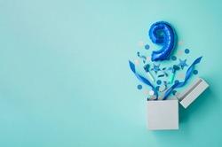 Number 9 birthday balloon celebration gift box lay flat explosion