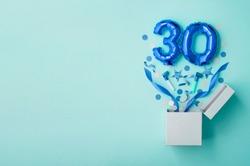 Number 30 birthday balloon celebration gift box lay flat explosion
